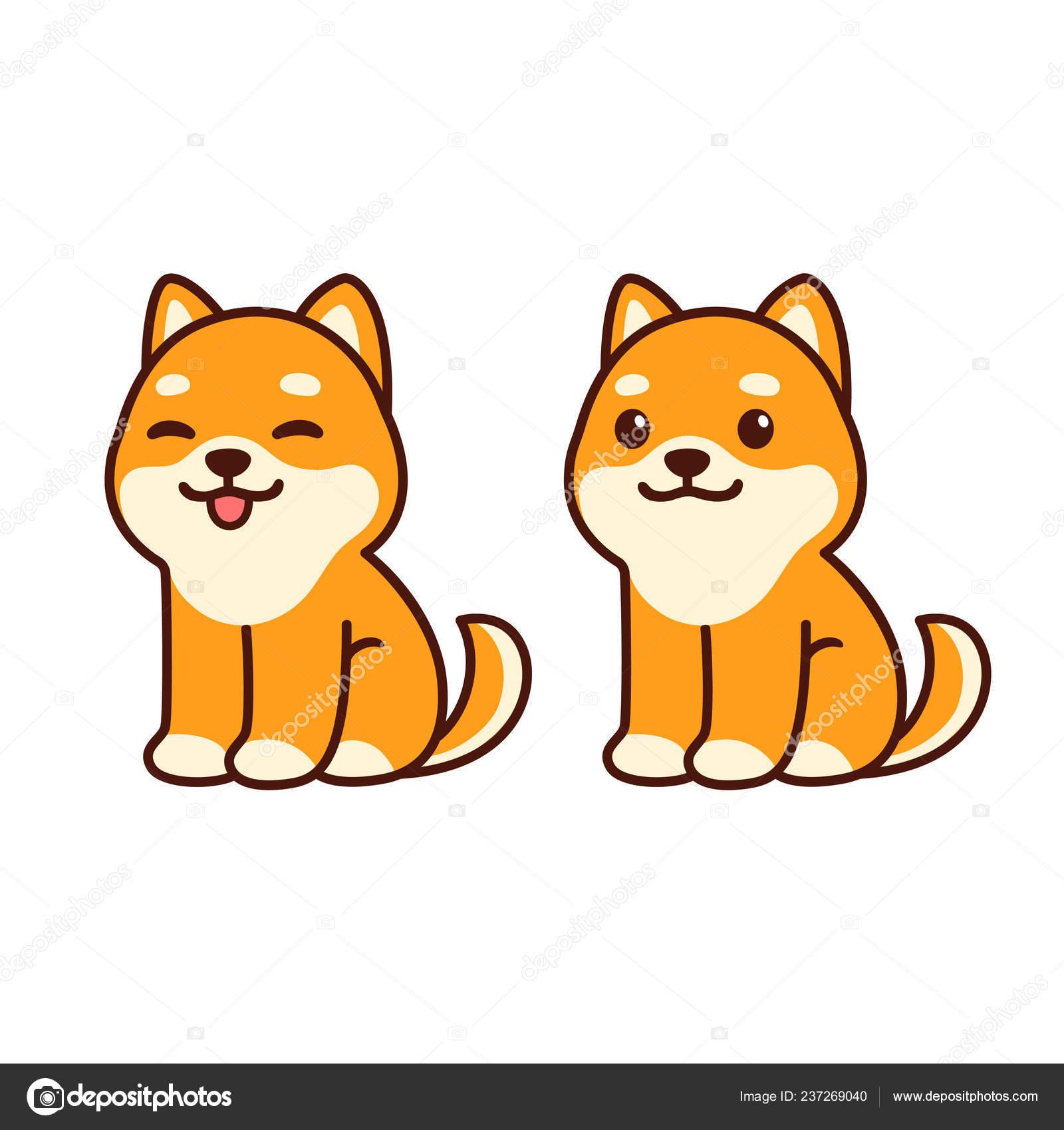 Chiba Inu Perrito Lindo Sentado Lengua Dibujos Animados Feliz Perro