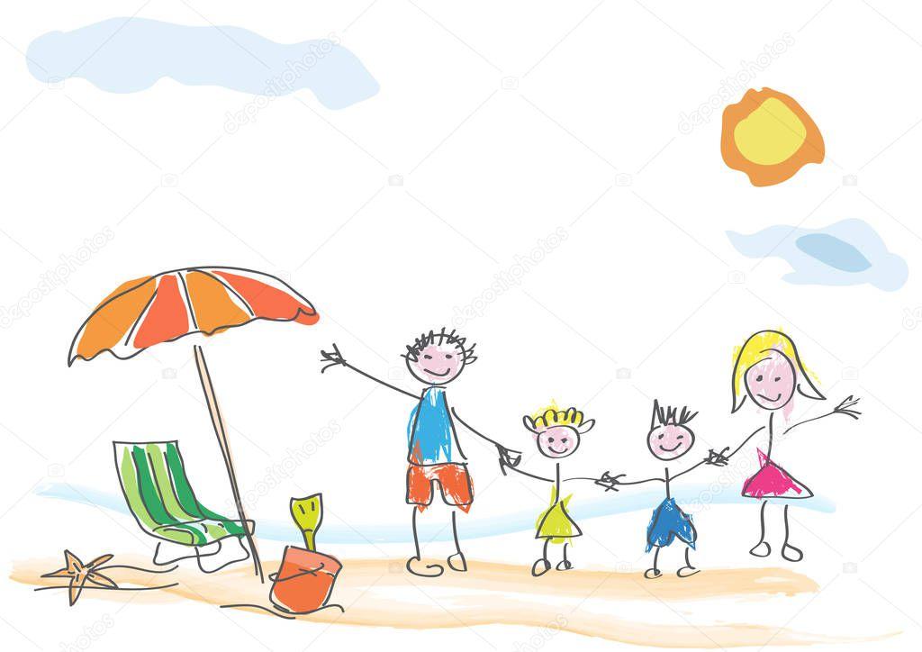 Рисунки отпуск всей семьей