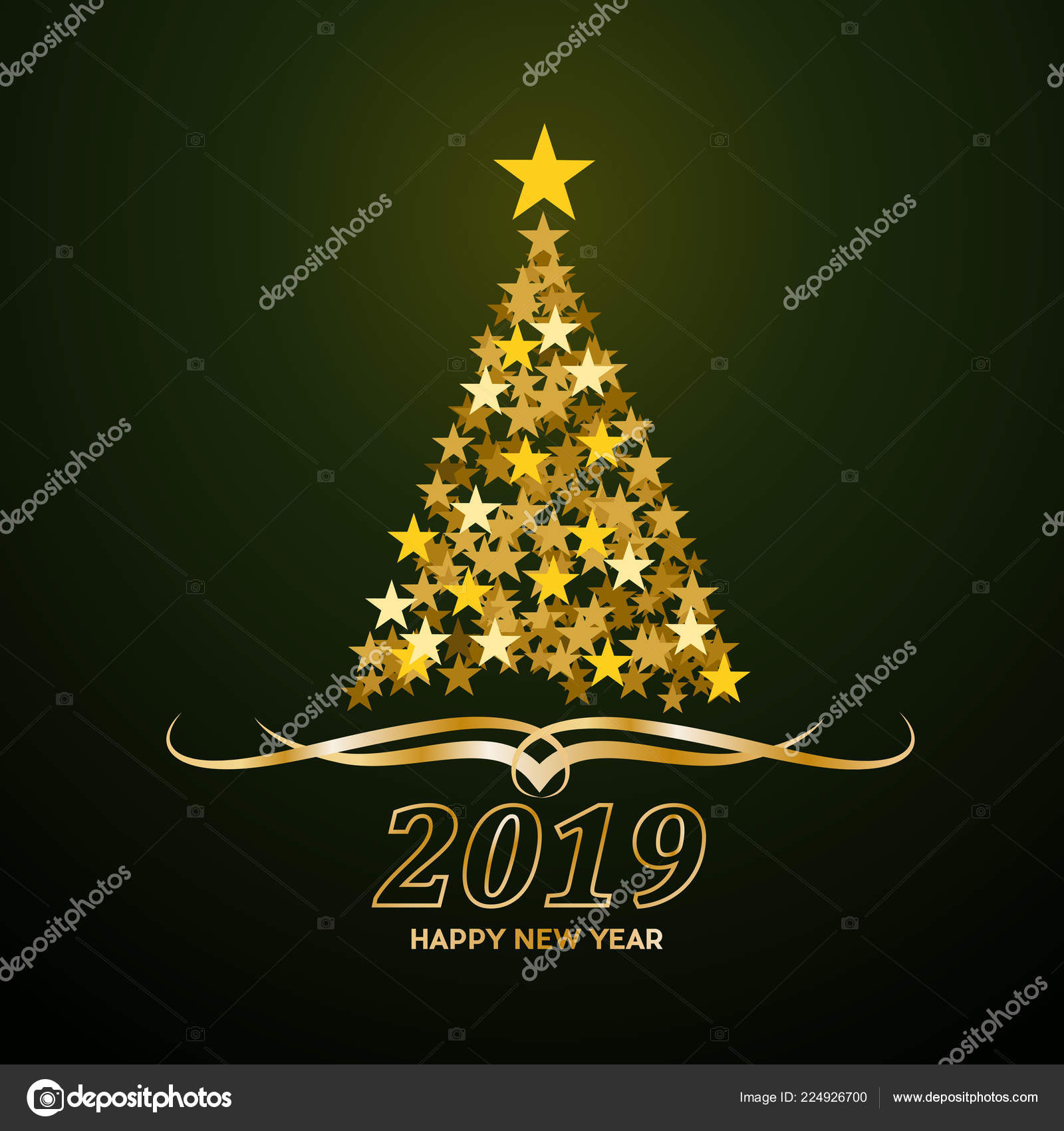 Vector Abstract Cover Golden Christmas Tree Text 2019 Happy New