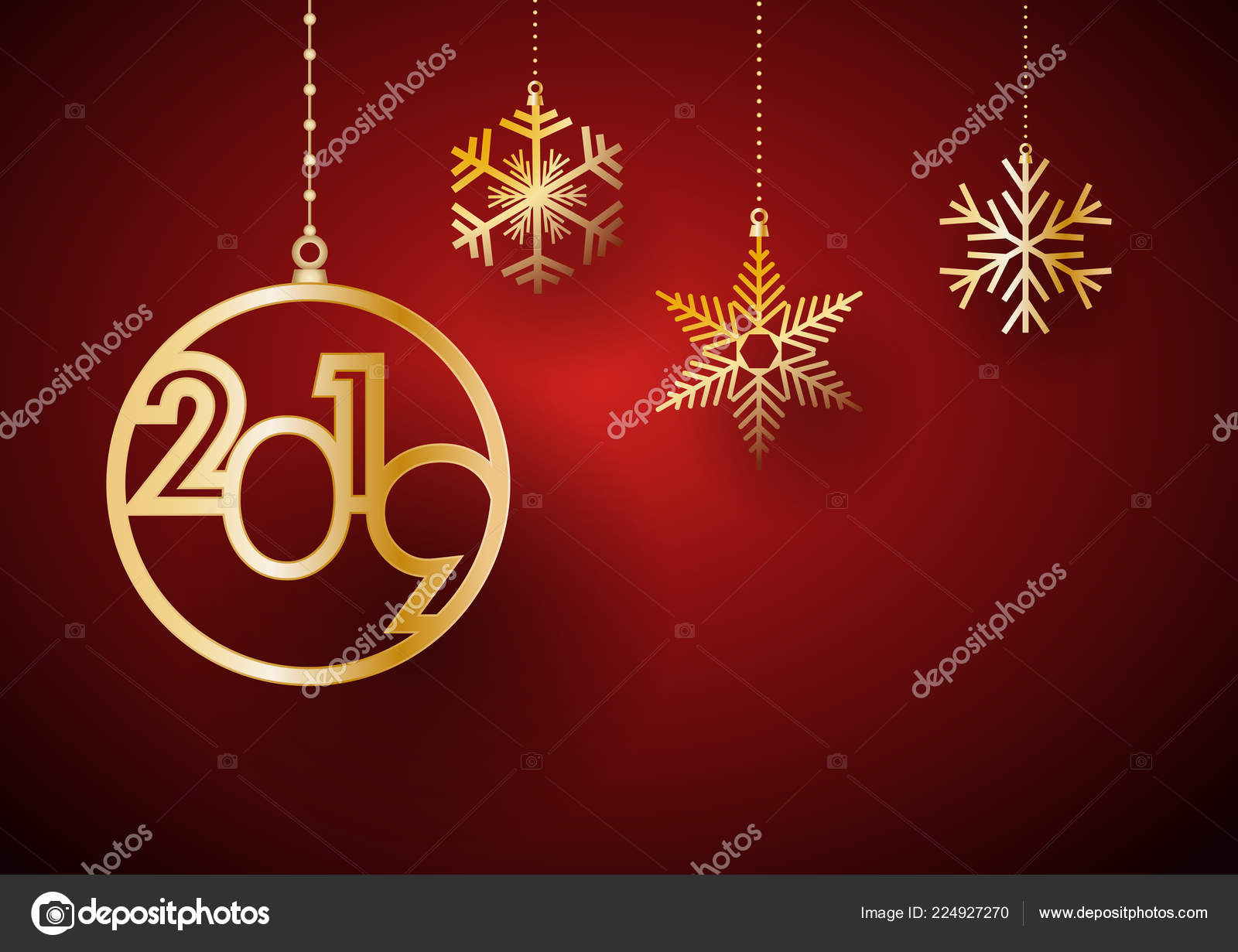 2019 happy new year background golden balls ice postcard calendar stock vector