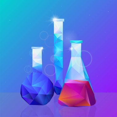 Science, different vessels study. Vector illustration
