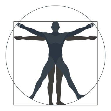 Vitruvian man, silhouette. the modern form, vector illustration