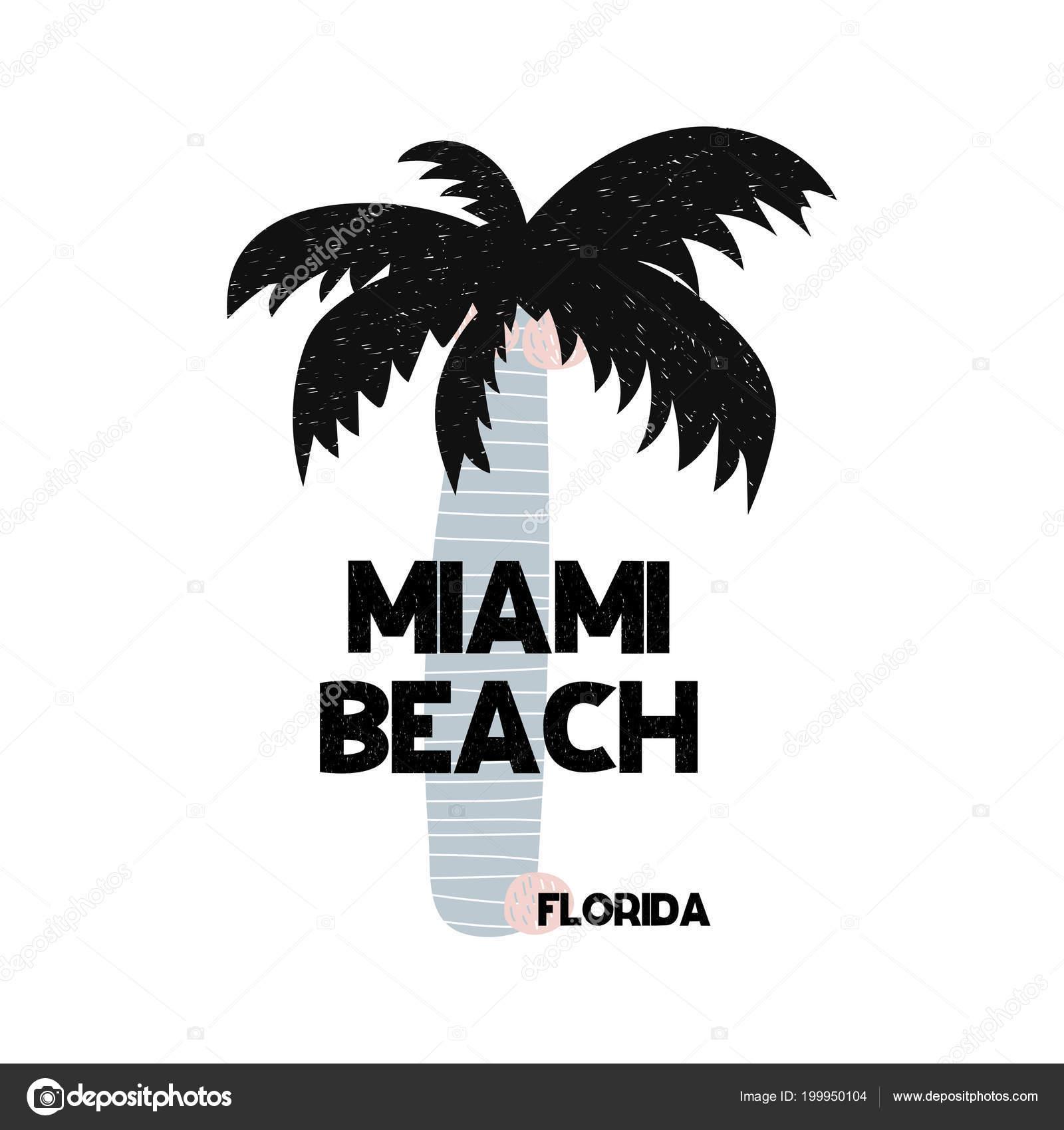 Florida Karte Drucken.Karte Mit Schriftzug Miami Beach In Florida Im Skandinavischen Stil