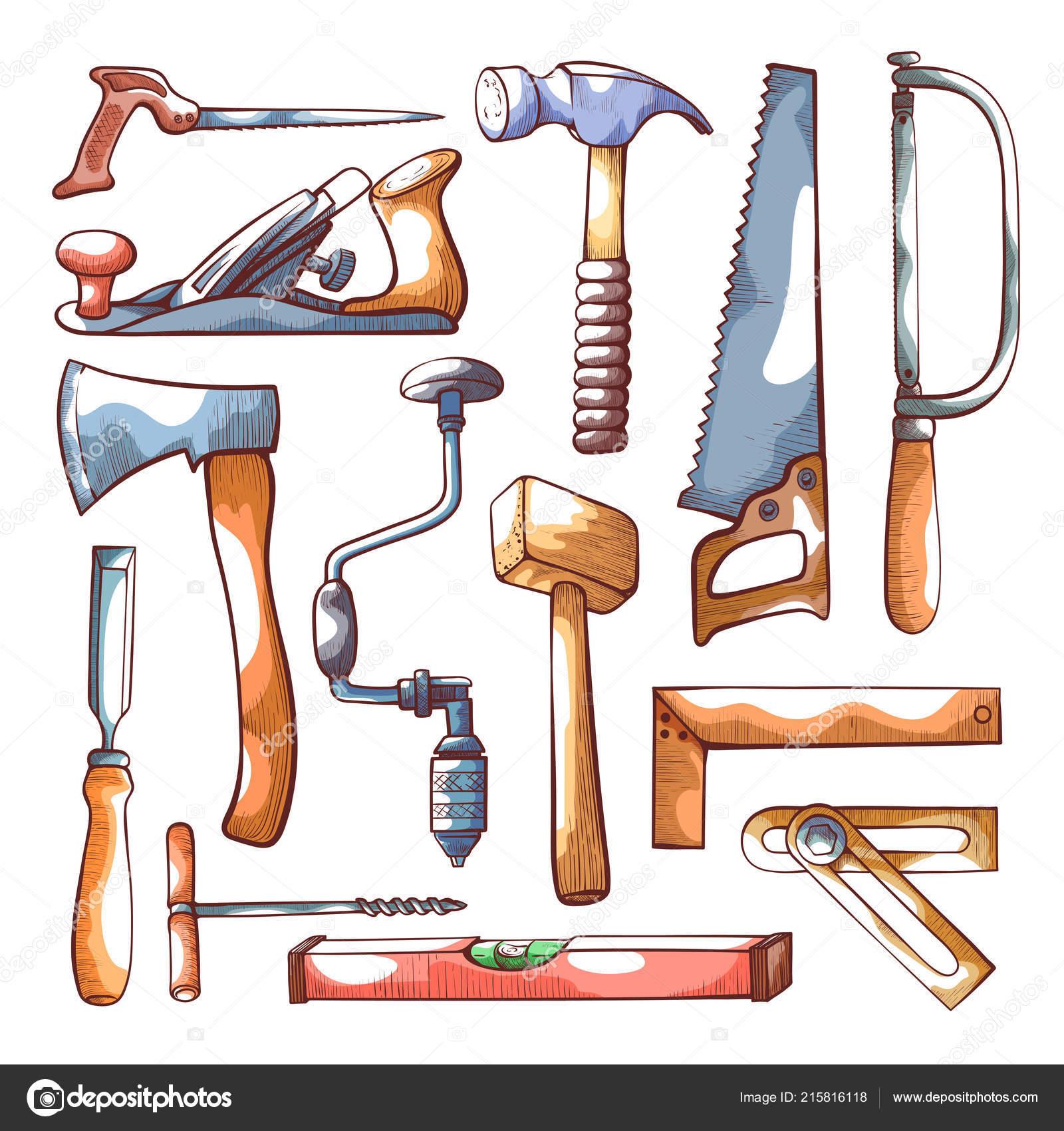 Carpentry Tools Hand Drawn Set On White Stock Vector C Axsimen