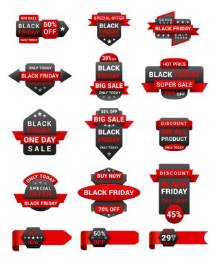 Black Friday shopping sale promotional labels vector set. Half price discounts badges isolated pack on white background. 50 percent off special offers for clients advertisement stickers collection icon