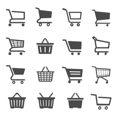 Shopping cart black and white glyph icons set