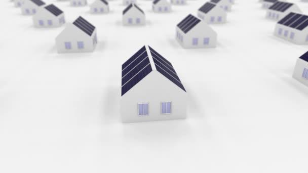 malé domy 3d se solárními panely na horní, obnovitelné zdroje, čisté a nezávislé energetické koncepce