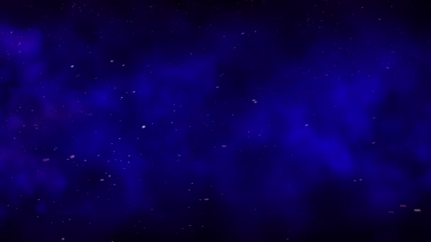 Flying sparks and smoke in the night starry sky, dark blue sky background with bright sparks, burning embers moving along with the smoke, seamless loop