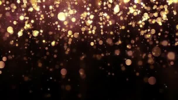 Pozadí s zlatými třpytkami padajících částic a bokeh. Krásné světlé pozadí. Padající zlaté konfety s magické světlo. Bezešvá smyčka