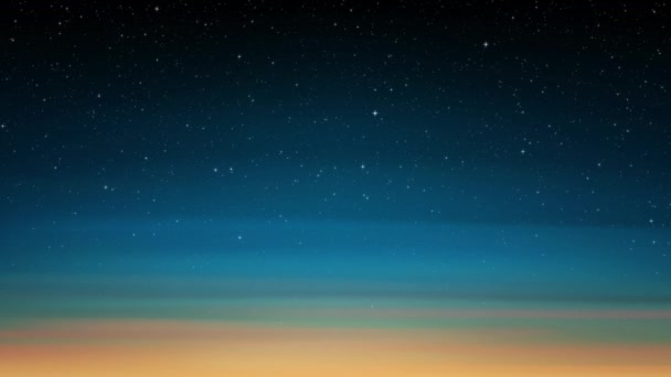 Night shining starry sky, sunset. blue sky background with glittering stars, cosmos. Animated space background. Seamless loop