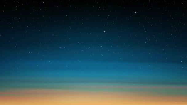Noční svítící hvězdnou oblohu, slunce. modrá obloha pozadí s třpytivé hvězdy, vesmír. Animované pozadí vesmíru. Bezešvá smyčka