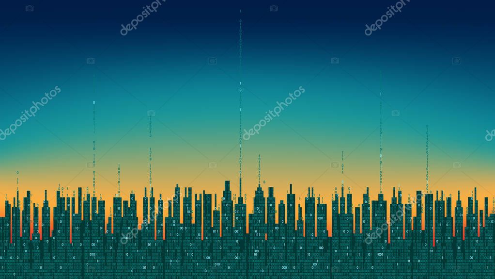 City online. Abstract futuristic digital city with artificial intelligence; neural network; internet of things. Hi-tech information background, digital technology concept