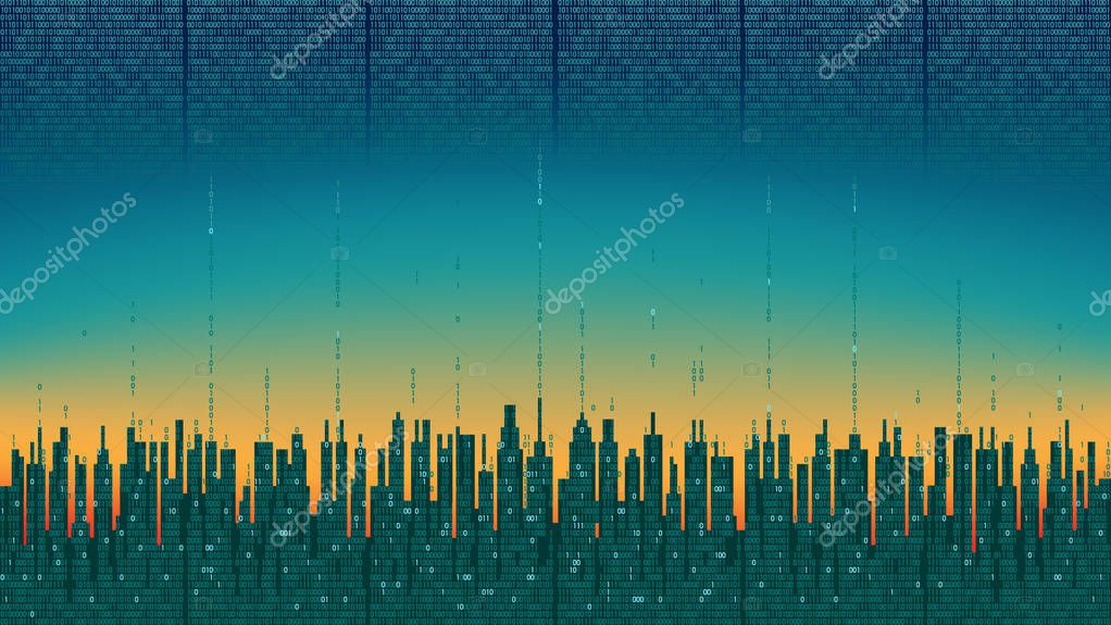 City online. Abstract futuristic digital city with artificial intelligence; neural network; internet of things. Hi-tech information background, digital technology concept, cloud connect