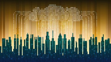 Binary rain in digital abstract city, the flow of data with the cloud, high-tech background. The concept of global cloud service