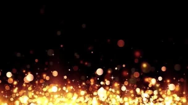 Háttér csillogó arany részecskék. Csillogó arany emelkedő részecskék. Gyönyörű bokeh fény háttér. Golden konfetti varázslatos csillogó fénnyel. Folytonos hurok