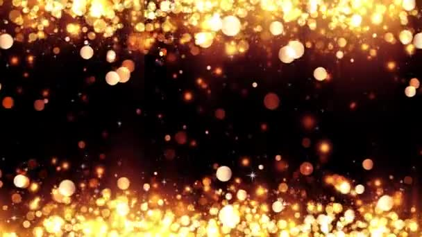 Background with shiny golden particles. Beautiful bokeh light background. Glittering gold particles. Golden confetti with magical shimmering sparkling light. Seamless loop