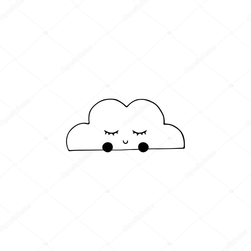 Vector hand drawn object, cute cloud with closed eyes.