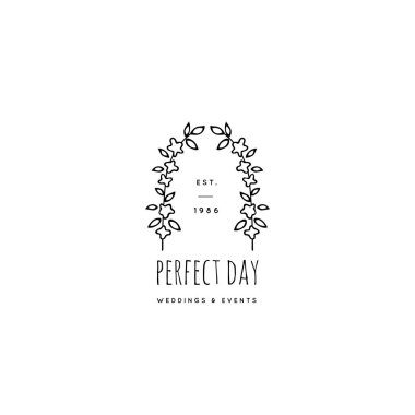 Vector hand drawn logo template in elegant and minimal style.