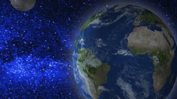 Místo na pozadí. Země, měsíc a létající asteroidu na pozadí hvězd. Odstranění obrázku. 3D vykreslování. Prvky tohoto obrázku jsou podle Nasa