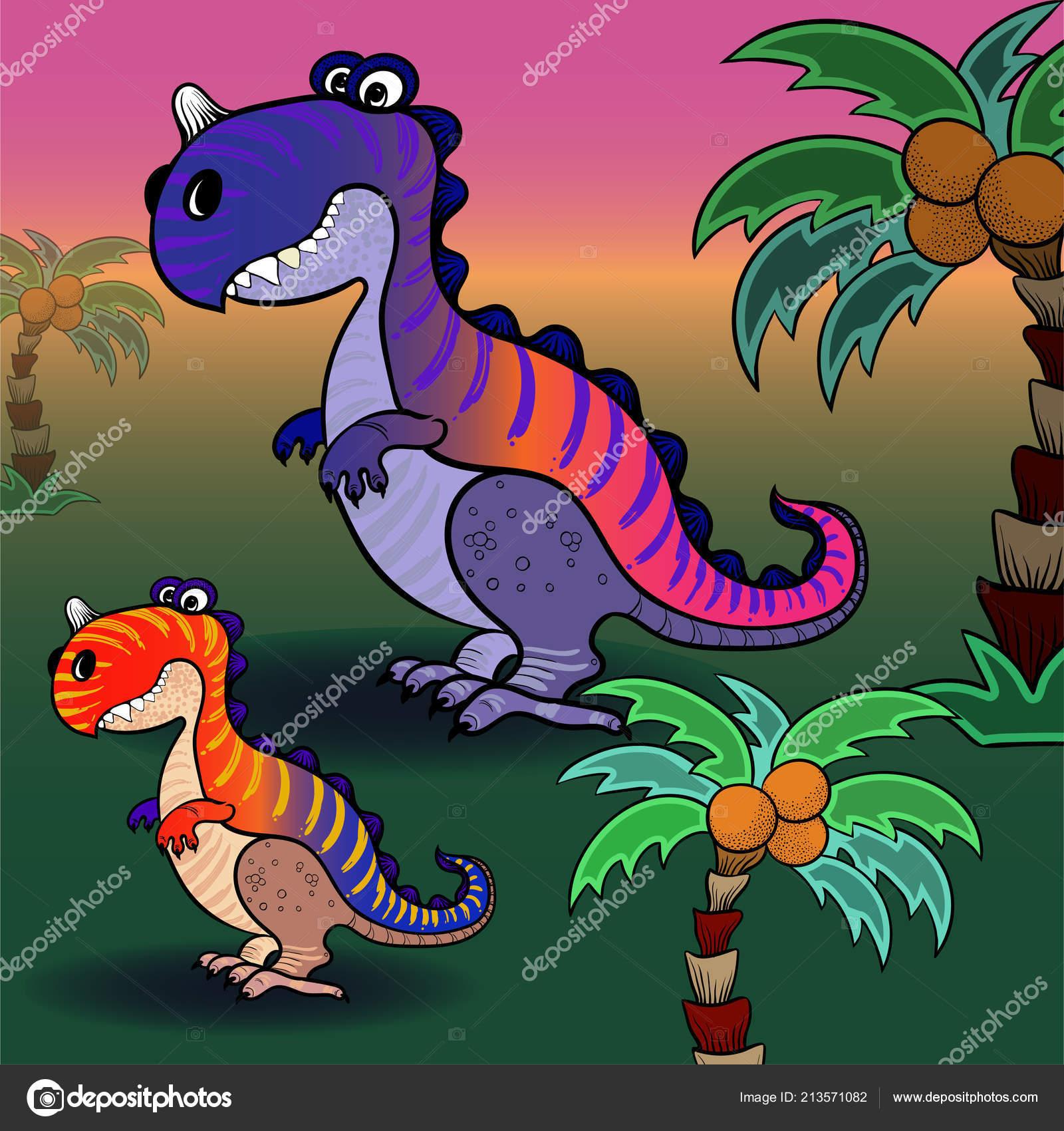 Immagine sfondo vettoriale dinosauro alberi palma personaggio dei