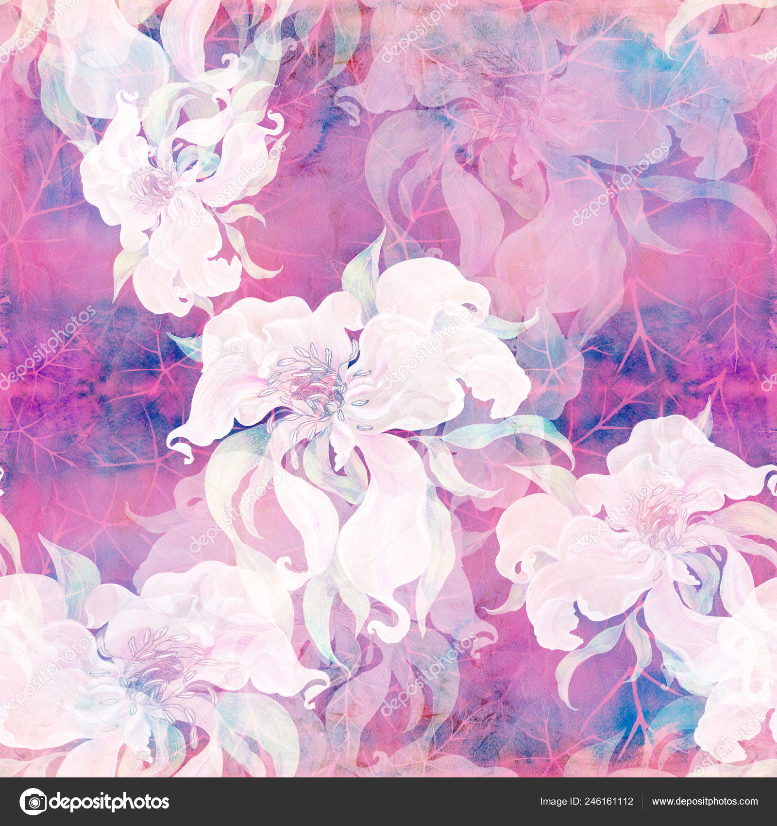 Flowers Watercolor Background Abstract Wallpaper Floral Motifs
