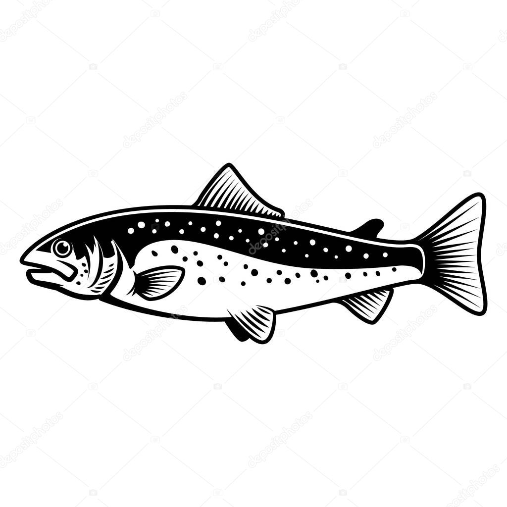Trout fish sign on white background. Salmon fishing. Design element for logo, label, emblem, sign.