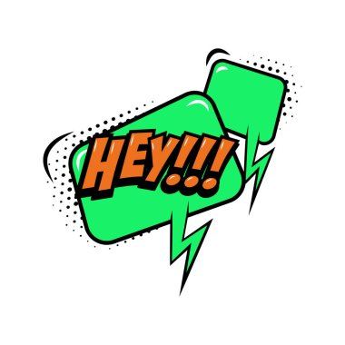 HEY!!! Comic style phrase with speech bubble. Vector illustration