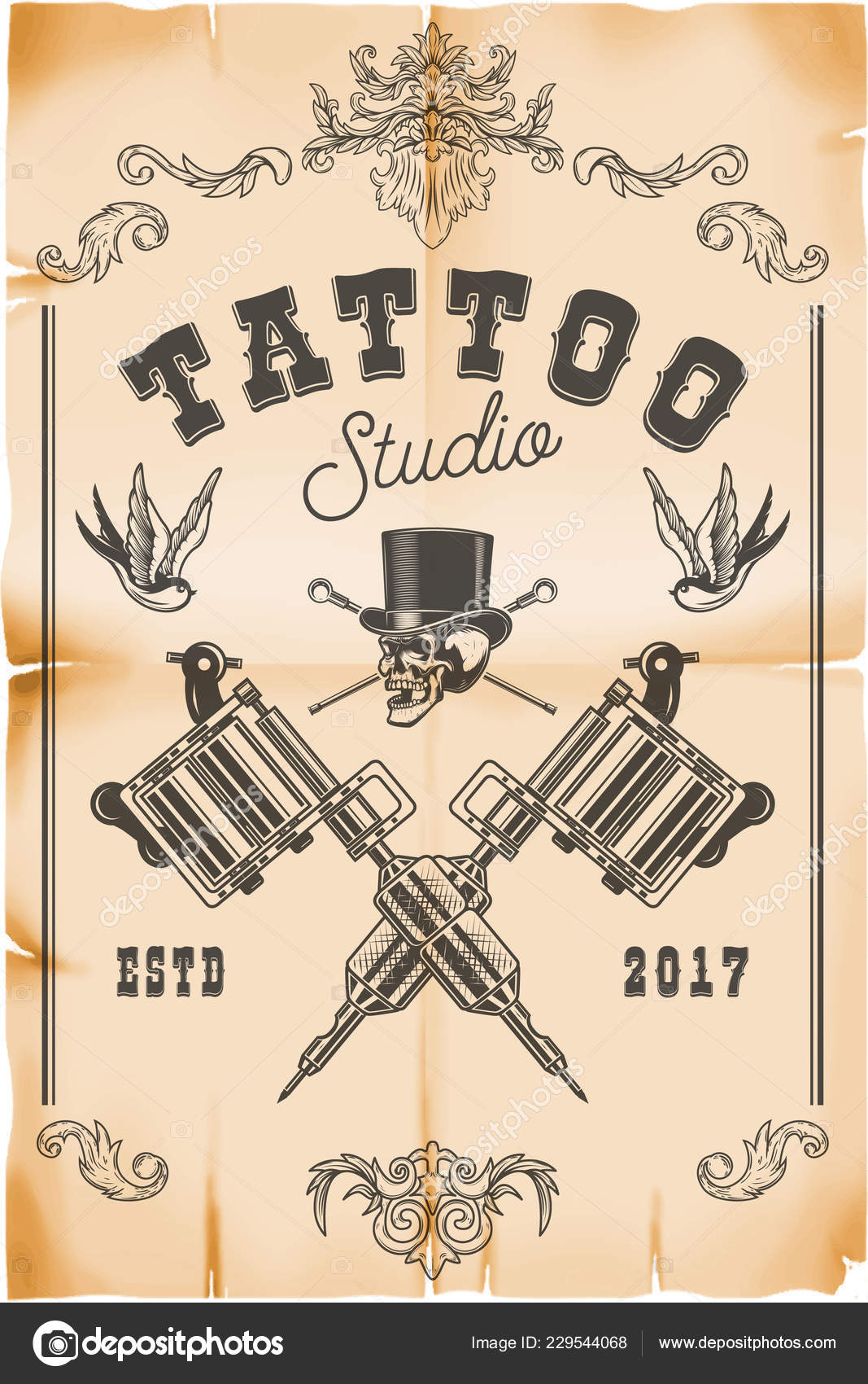 Tattoo Studio Poster Template Skull Crossed Tattoo Machines