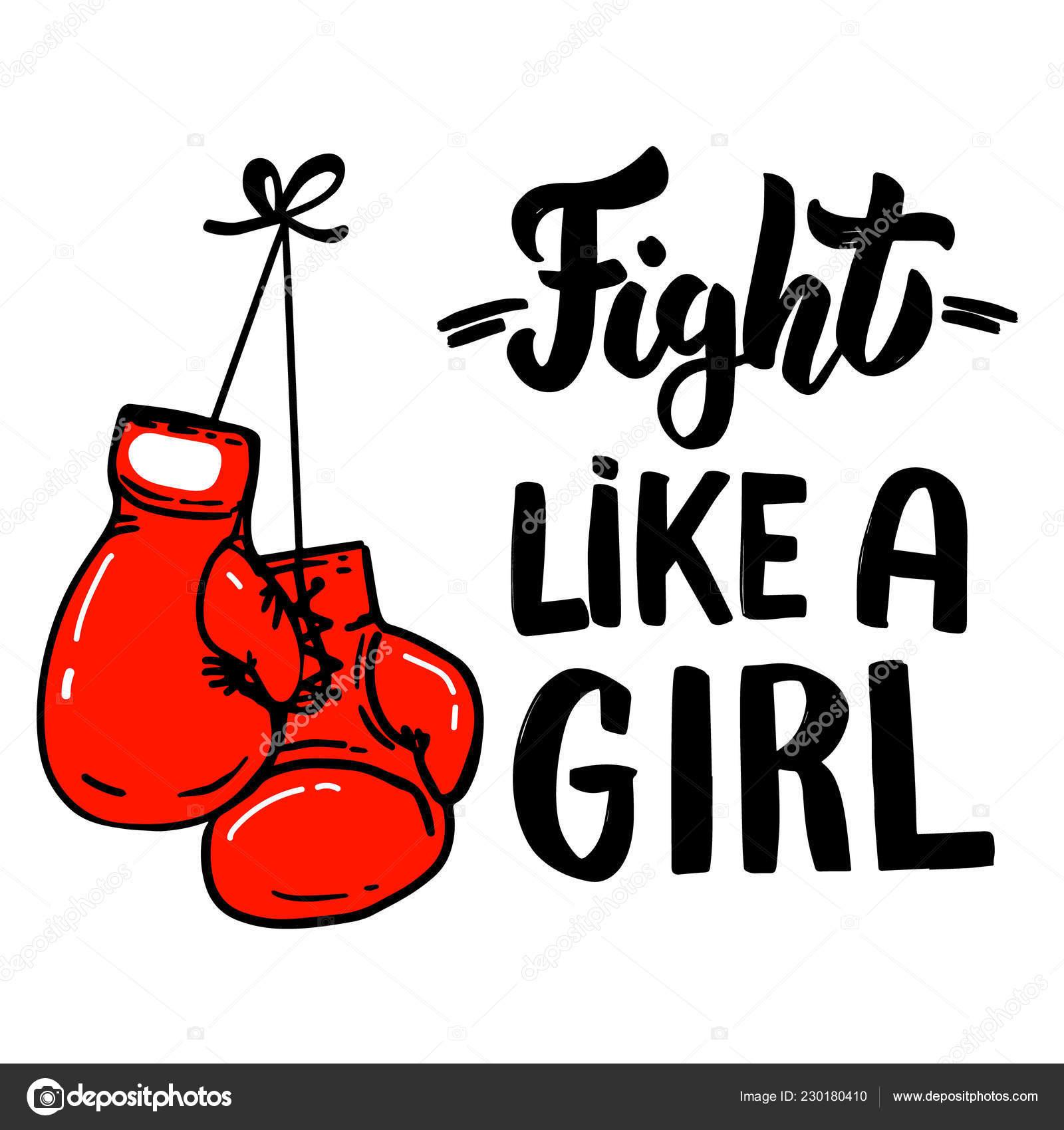 Lucha Como Una Chica Frase Letras Con Guantes Boxeo Diseño