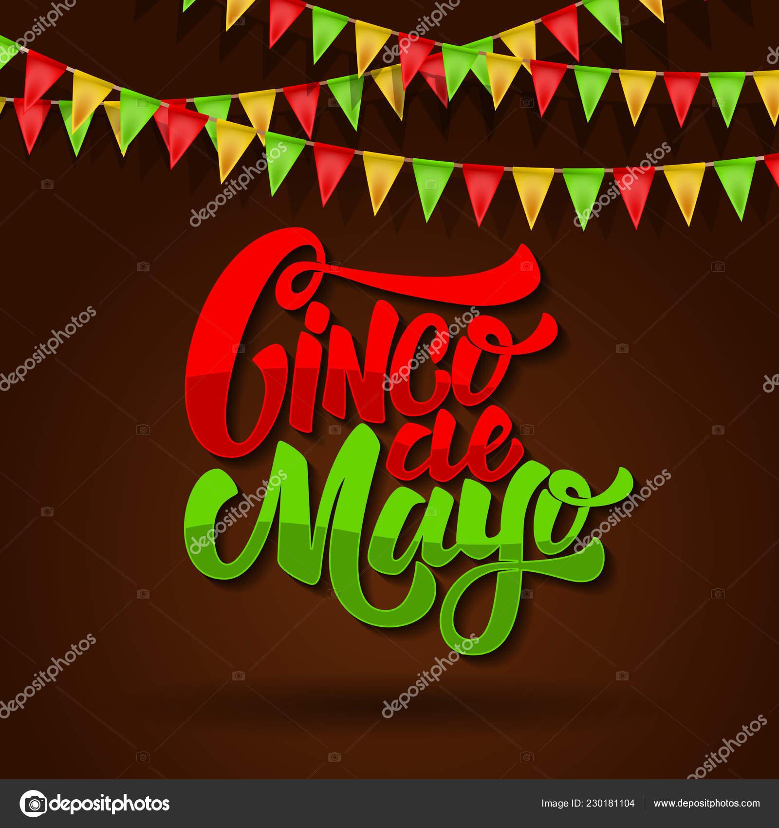 Cinco Mayo Frase Letras Fondo Con Las Banderas Del Carnaval