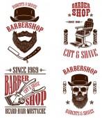 Set von Vintage-Barber-Shop-Embleme, Abzeichen und Design-Elemente. für Logo, Etikett, Zeichen. Vektor-Illustration