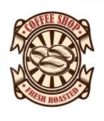 Vintage-Café-Emblem. Design-Elemente für Logo, Etikett, Zeichen, Abzeichen. Vektor-Illustration