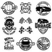 Autó benzinkút emblémák és tervezési elemek halmaza. A logó, címke, jelet, banner, póló, poszter. Vektoros illusztráció