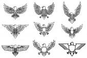 Fotografie Set of eagle icons isolated on white. Design element for logo, label, emblem, sign. Vector illustration