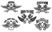 Fotografia Set di pistoni auto e moto alato. Elemento per etichetta, marchio, segno, emblema di disegno. Illustrazione di vettore