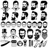 Vintage fodrász monokróm ikonok, a férfiak frizurák és a design elemek elszigetelt fehér background halmaza. A logó, címke, jelkép, a jel. Vektoros illusztráció