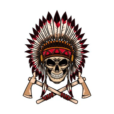 Native indian chief skull with crossed tomahawks on white background. Design element for logo, label, emblem, sign. Vector illustration