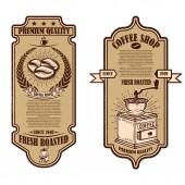 Fotografie Vintage coffee shop flyer templates. Design elements for logo, label, sign, badge. Vector illustration