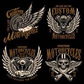 Satz von Racer Emblem Vorlagen mit Motorrad Motor, Räder. Flügel. Gestaltungselement für Label, Emblem, Zeichen, Plakat, Logo, t-Shirt. Vektor-illustration