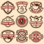 Fotografia Insieme degli emblemi vintage coffee shop. Elementi di design per logo, etichetta, segno distintivo. Illustrazione di vettore