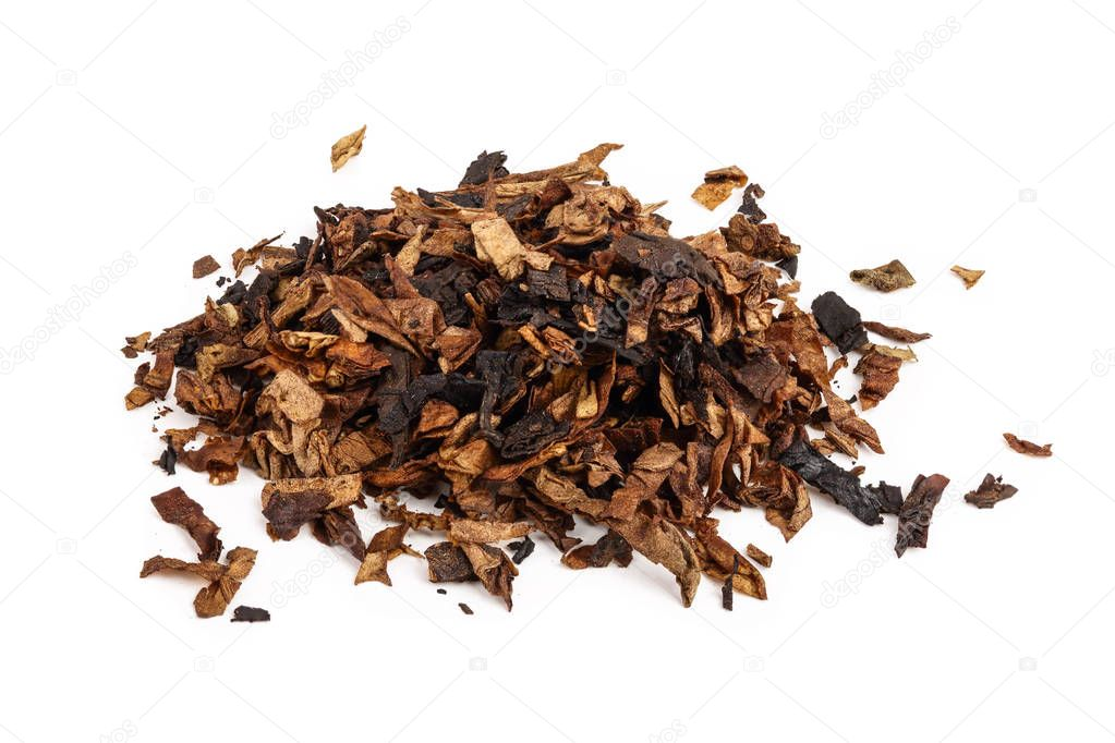 dried smoking tobacco isolated on white background