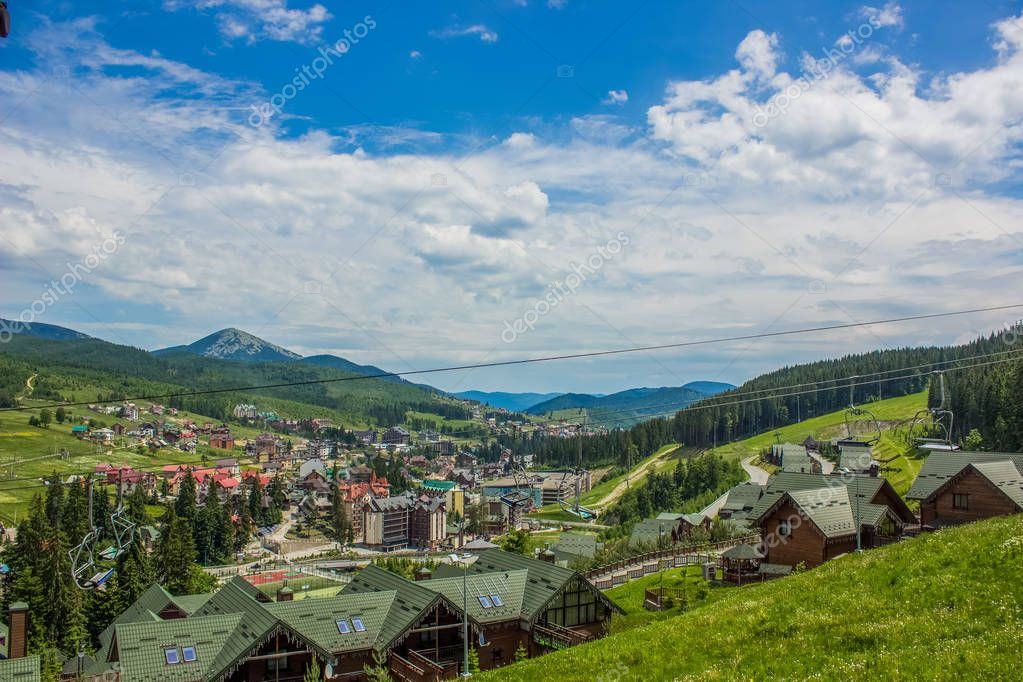 resort with cottages in Carpathians mountains nature landscape