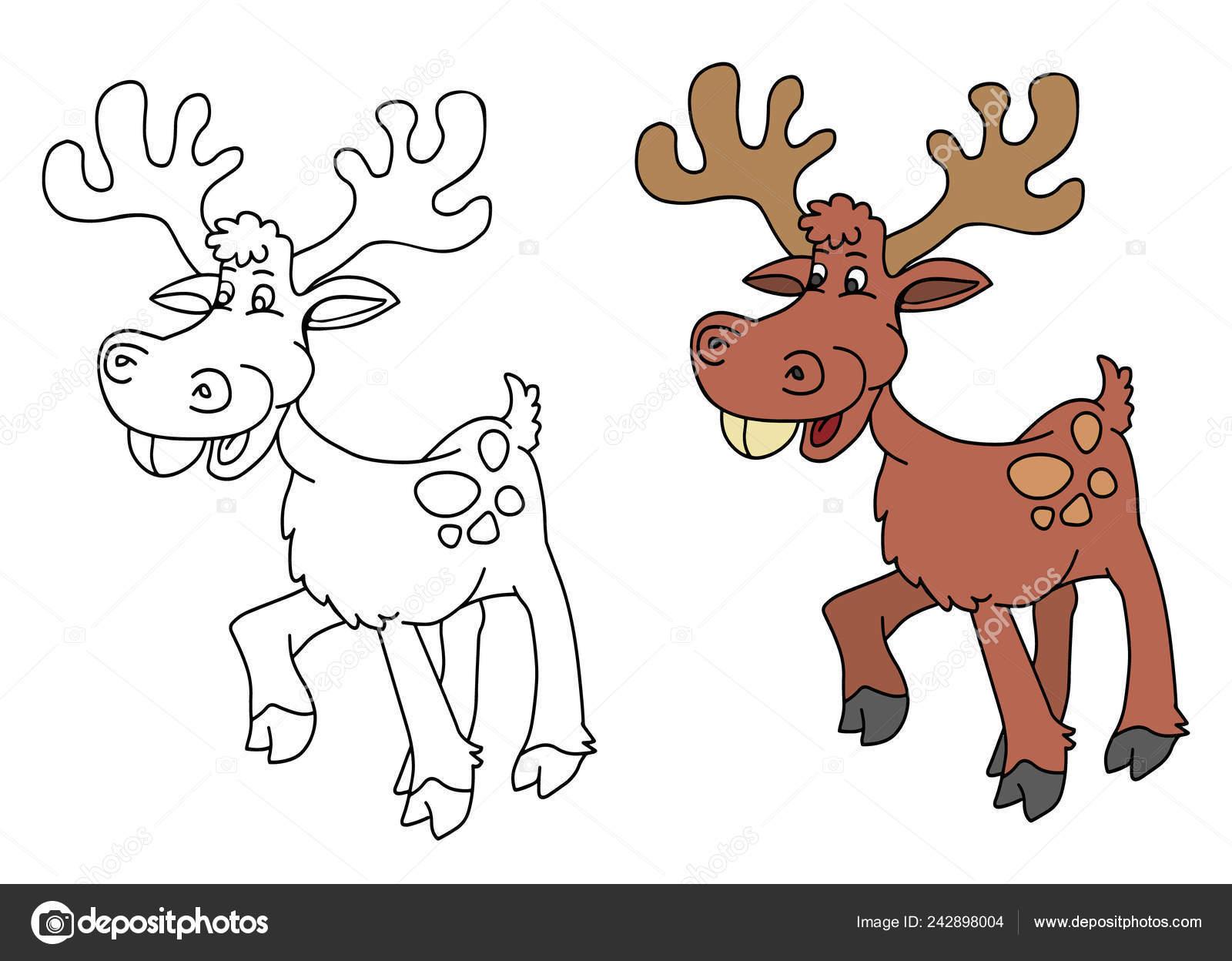 Malvorlagen Für Kinder Mit Lustigen Tieren Hirsch Stockvektor
