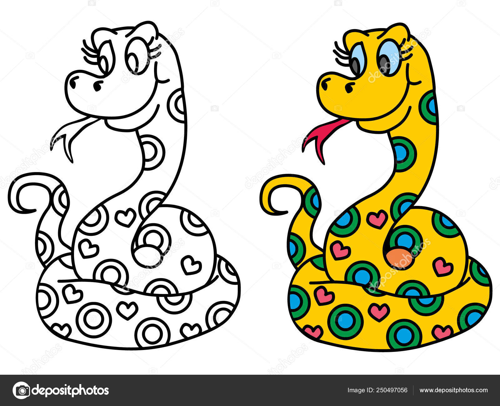 Coloring Pages Childrens Funny Animals Cute Snake Stock