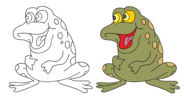 coloring pages for childrens with funny animals, funny frog