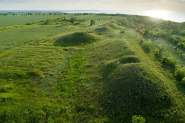 Scenic view of the burial mounds of Mamay Mountain. Aerial view.