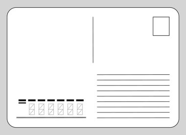 Vector template reverse side of the postcard and postcode