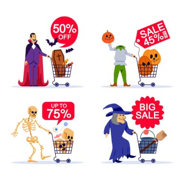 Evil character go shopping for Halloween party need.