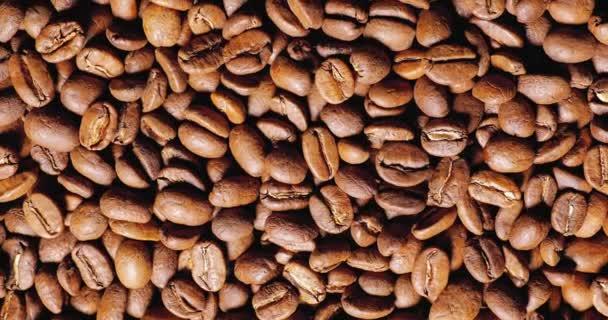 Otáčení pozadí kávové zrna, pohled shora textury