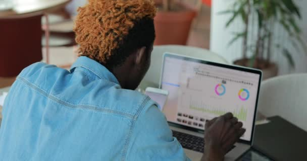 Businessman analysing result of work his team, looking graphics and charts on a laptop monitor